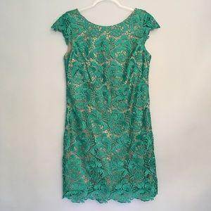 Eliza J  Lace Overlay Blooms & Swirls Sheath Dress